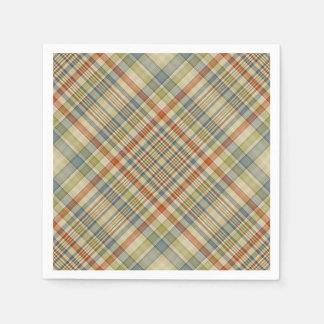 多彩の格子縞パターン スタンダードカクテルナプキン