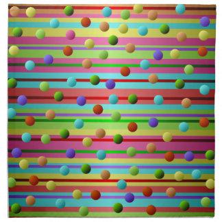 多彩の水玉模様およびストライプ ナプキンクロス