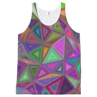 多彩の無秩序の三角形 オールオーバープリントタンクトップ