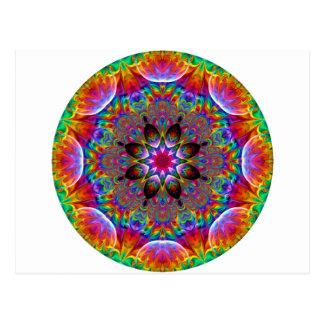 多彩の目まぐるしい花のスターバスト ポストカード