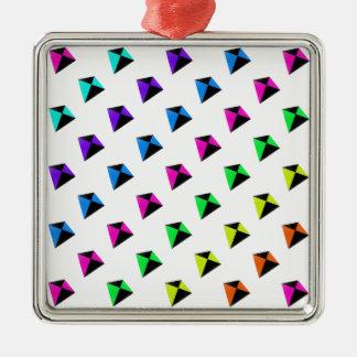 多彩の菱形凧パターン メタルオーナメント
