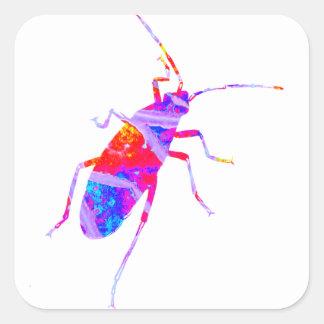 多彩の葉虫のステッカー スクエアシール