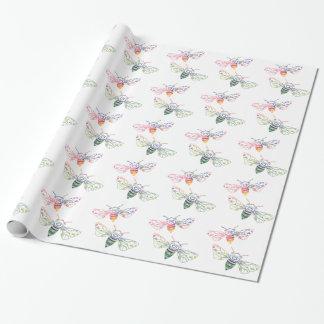 多彩の蜜蜂の落書き ラッピングペーパー