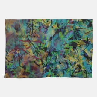 多彩の走り書きされた抽象美術 キッチンタオル