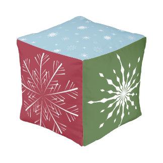 多彩の雪片の立方体のクッション プーフ