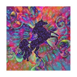 多彩宇宙のユニコーン ウッドウォールアート