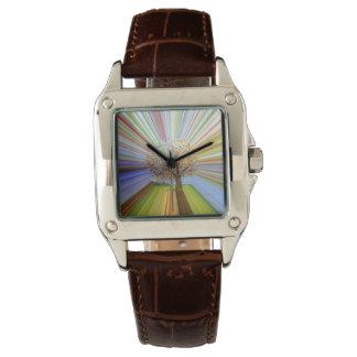 多彩秋の木は縞で飾ります 腕時計