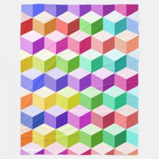 多彩立方体パターン フリースブランケット