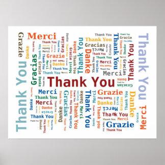 多彩5つの言語の単語の雲-ありがとう ポスター