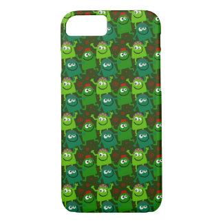 多数のかわいく小さい緑の微笑モンスター iPhone 8/7ケース