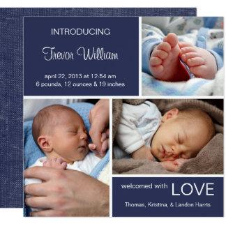 多数の写真の誕生Announcement//Navyの青のデニム カード