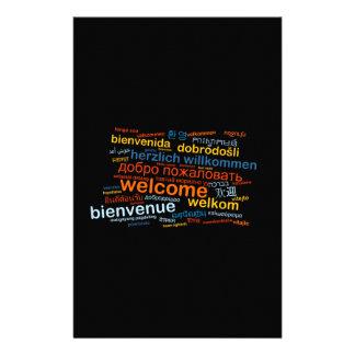 多数の言語の歓迎 便箋