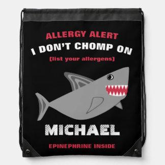 多数の食物アレルギー警報鮫のドローストリングバッグ ナップサック