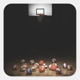 多数 バスケットボール 休息 床 正方形シール・ステッカー