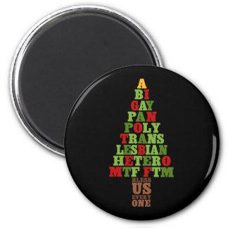 多様性のクリスマスツリーの文字 マグネット