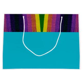 多目的な虹のトリムのギフトバッグ ラージペーパーバッグ