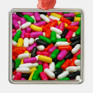 多色のなキャンデーのプリント メタルオーナメント