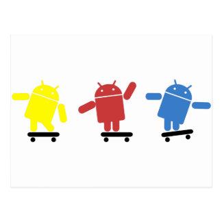 多色のな人間の特徴をもつスケートボーダー ポストカード