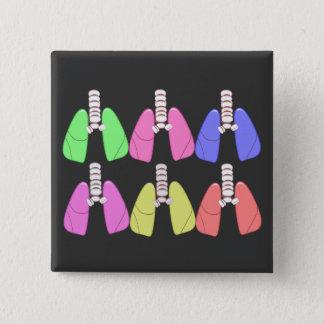多色のな肺--呼吸療法士のデザイン 5.1CM 正方形バッジ