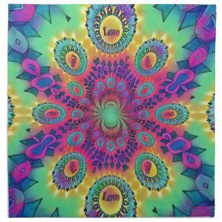多色刷りのサイケデリックな愛は愛レトロパターンです ナプキンクロス