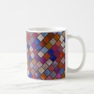 多色刷りのタイルパターンマグ コーヒーマグカップ
