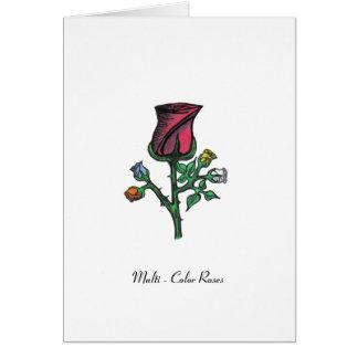 多色刷りのバラ カード