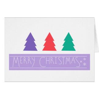多色刷りのパステル調の木のクリスマスカード カード