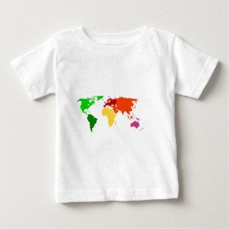 多色刷りの世界地図の輪郭の服装 ベビーTシャツ