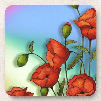 多色刷りの背景の赤いケシ: 芸術 コースター