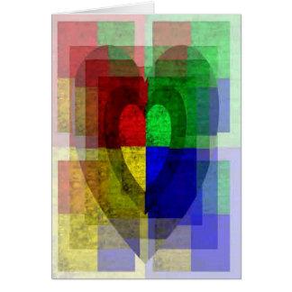 多色刷りのWoodgrainのハート カード