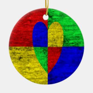 多色刷りのWoodgrainのブロックのハート セラミックオーナメント