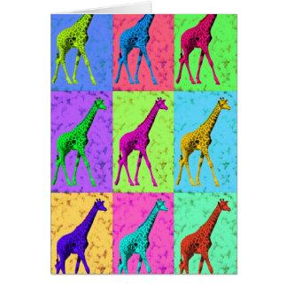 多色刷りポップアートのPopartの歩くのキリン カード