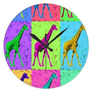 多色刷りポップアートのPopartの歩くのキリン ラージ壁時計