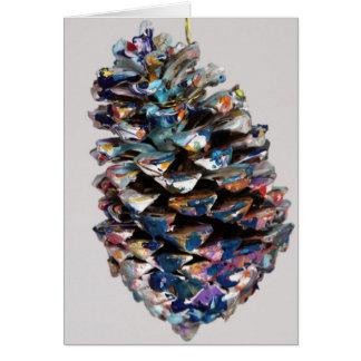 多色刷り、アクリル、民芸、色彩の鮮やかなpinecone. カード