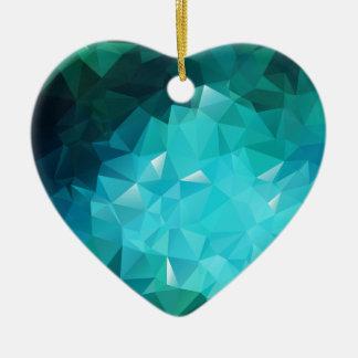 多角形のアクアマリンの抽象芸術 セラミックオーナメント