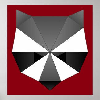 多角形のアライグマ ポスター