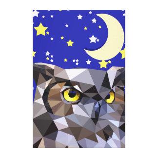 多角形のフクロウおよび星明かりの夜空 キャンバスプリント