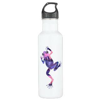 多角形のモザイク登山のカエルのピンク及び紫色 ウォーターボトル