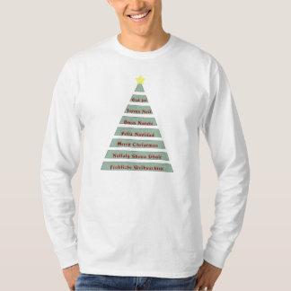 多言語のクリスマスの挨拶のクリスマスツリー Tシャツ