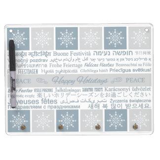 多言語の幸せな休日の伝言板 キーホルダーフック付きホワイトボード