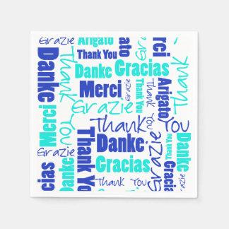 多言語青およびターコイズは感謝していしています スタンダードカクテルナプキン