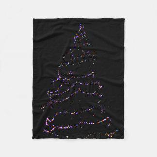 夜につくクリスマスツリー フリースブランケット