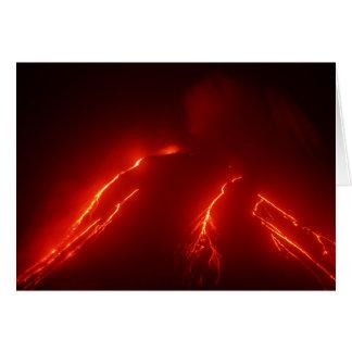 夜によっては火山Klyuchevskaya Sopkaが噴火します カード
