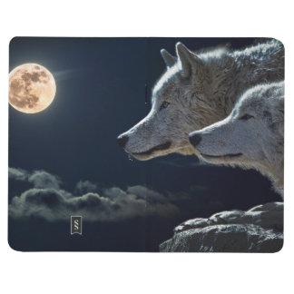 夜に満月で遠ぼえしているオオカミのオオカミ ポケットジャーナル