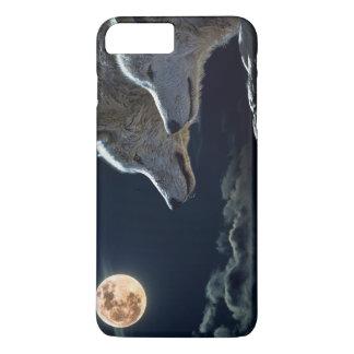 夜に満月で遠ぼえしているオオカミのオオカミ iPhone 8 PLUS/7 PLUSケース