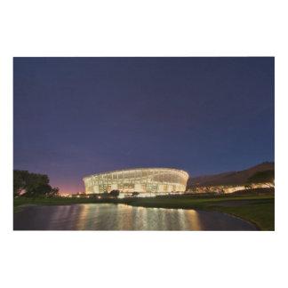 夜に照らされるケープタウンの競技場 ウッドウォールアート