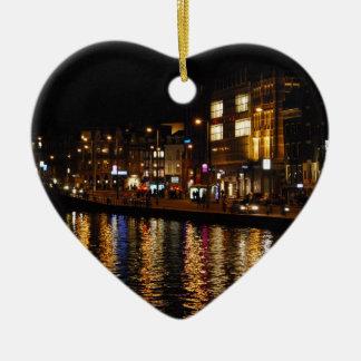 夜のアムステルダムの運河 セラミックオーナメント