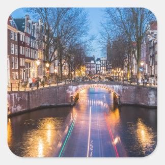 夜のアムステルダム運河 スクエアシール