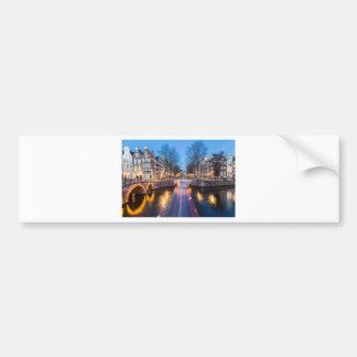 夜のアムステルダム運河 バンパーステッカー