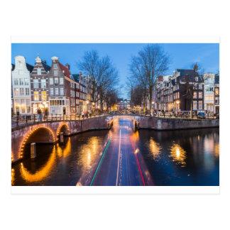 夜のアムステルダム運河 ポストカード